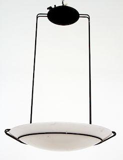 MODERN IRON AND GLASS LIGHT FIXTURE CIRCA 1980