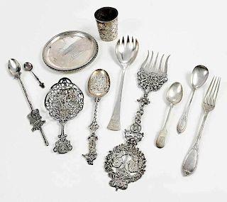 28 Pieces  Continental Silver Flatware