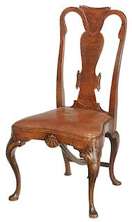 Queen Anne Style Burlwood Side Chair