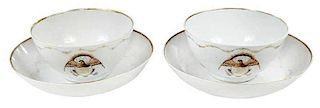 Pair Chinese Export Tea Bowls and Saucers