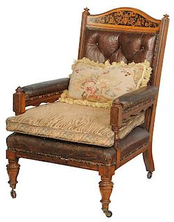 Aesthetic Movement Inlaid Leather Armchair