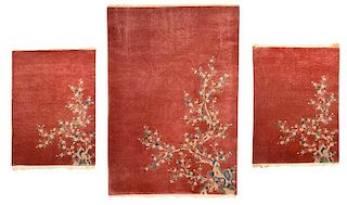 Three Peach Colored Chinese Rugs