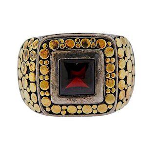 John Hardy 18K Gold Silver Red Stone Gentleman's Ring