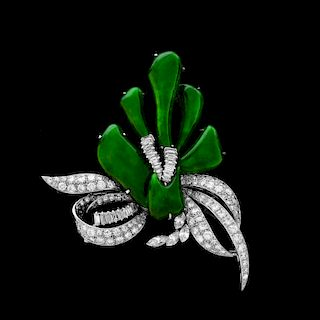 Important Imperial Jade, Diamond, Platinum Brooch