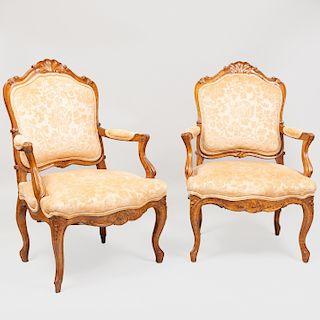 Pair of Louis XV Style Provincial Walnut Fauteuils à la Reine