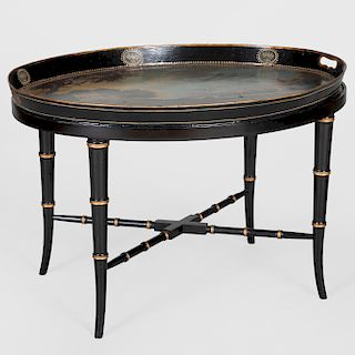 Victorian Painted Tôle Tea Tray on Modern Wood Stand