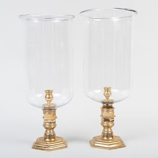 Pair of XIV Style Brass and Glass Photophores