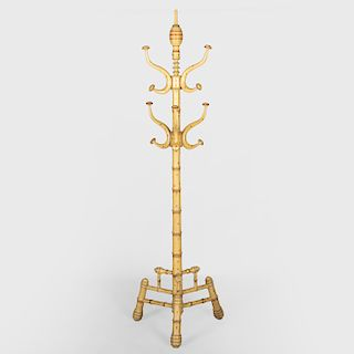 Faux Painted Bamboo Turned Wood Coat Stand