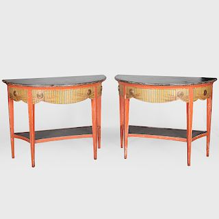 Pair of Neoclassical Style Painted Demi Lune Console Tables