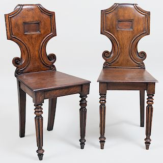 Pair of Early Victorian Oak Hall Chairs