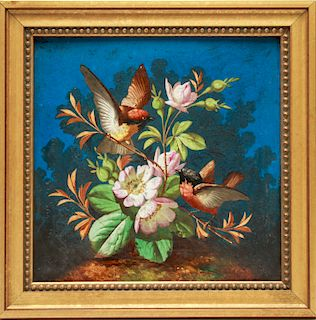 French Porcelain Plaque with Birds & Flowers