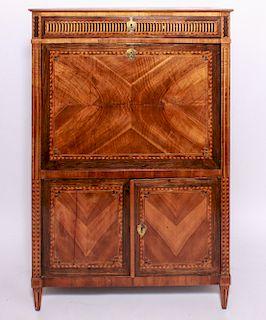 Louis XVI Style Parquetry Drop Front Desk