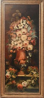 Continental Floral Bouquet Still Life Oil on Board