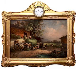 Dutch School Oil Painting in Frame with Clock