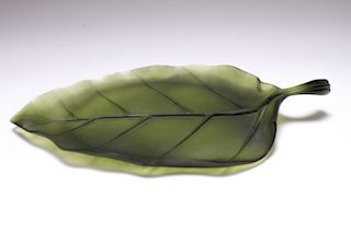 Daum France Art Glass Pate de Verre Leaf Platter