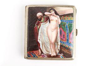 Silver Enamel Erotic Orientalist Nude Cig. Case