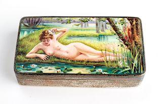 Silver & Enamel Erotic Nude Woman Snuff Box