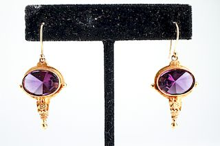 22K Yellow Gold & Amethyst Earrings