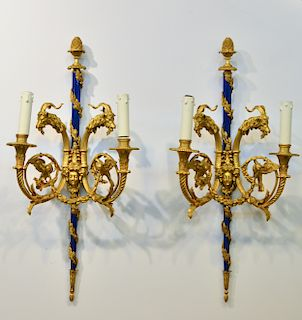 Louis XVI Style Gilt Bronze Enamel 2-Light Sconces