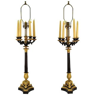 Neoclassical Style Candelabra Table Lamps, Pair