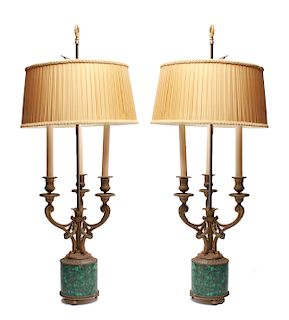 French Empire Style Bronze & Malachite Lamps, Pair