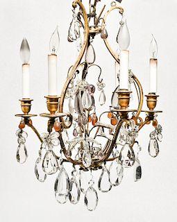 Louis XV Style Six Light Crystal Chandelier