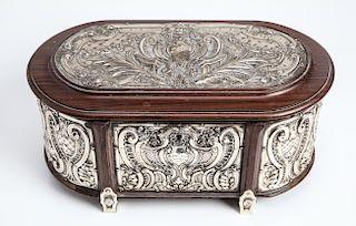 Portuguese Silver Panels & Wood Oval Box w Key