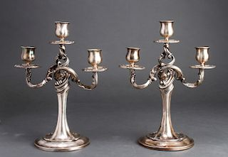 Baroque Style Russian Silver Pair of Candelabra