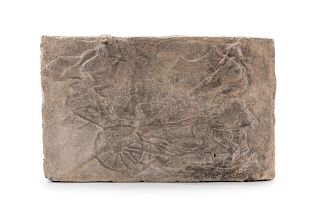 A Carved Pottery Architectural TileHeight 10 1/8 x width 15 3/4 in., 16 x 40 cm.