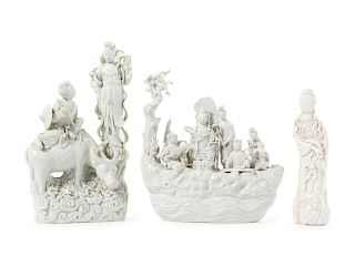 Three Blanc-de-Chine Porcelain Figural Groups Tallest: Height 13 3/4 in., 35 cm.