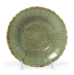 A Celadon Crackled Glazed Porcelain Floriform Dish Diam 7 1/2 in., 19 cm.