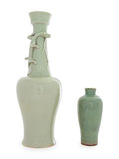 Two Monochrome Glazed Porcelain Vases Taller: height 15 in., 38 cm.