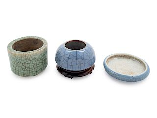 Three Crackled Glazed Porcelain Scholar's Objects Largest: diam 2 1/2 in., 6 cm.