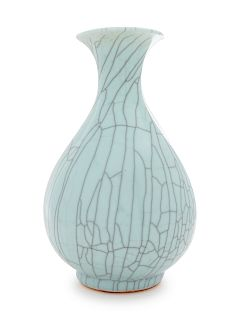 A Guan-Type Porcelain Bottle Vase, Yuhuchunping Height 5 1/8 in., 13 cm.