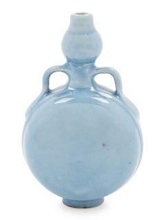 A Clair-de-Lune Glazed Porcelain Miniature Moon Flask Height 3 1/4 in., 8 cm.