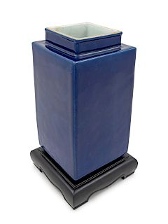 A Blue Glazed Porcelain Square Vase Height 9 3/4 in., 25 cm.
