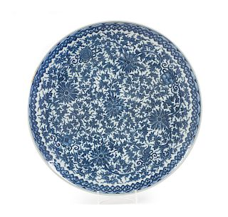 A Blue and White Porcelain Charger Diam 17 7/8 in., 45 cm.