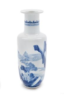 A Small Blue and White Porcelain Rouleau Vase Height 11 in., 28 cm.