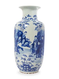 A Blue and White Porcelain Baluster Vase Height 17 1/2 in., 44 cm.