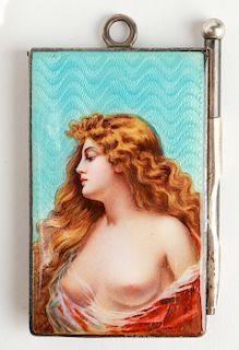 Silver Enamel Erotic Nude Woman Note Pad w Pencil