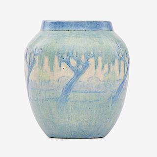 S. IRVINE; NEWCOMB COLLEGE Scenic vase
