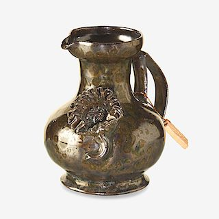 GEORGE OHR Pitcher with accordion flower