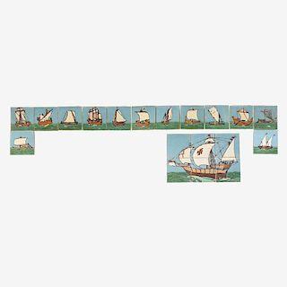 GRUEBY Rare ship tile frieze