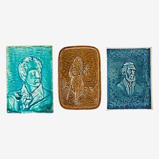 HUGH ROBERTSON Three portrait tiles