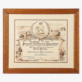 1915 PANAMA-CALIFORNIA EXPOSITION GOLD MEDAL