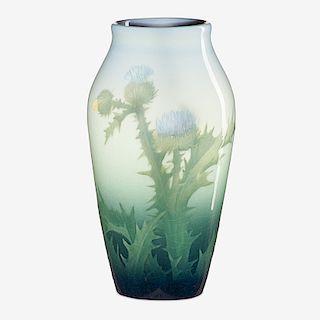 LENORE ASBURY; ROOKWOOD Iris Glaze vase w/ thistle