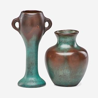 CLEWELL Two copper-clad vases