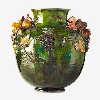 E. LINDENEHER; HAVILAND & CO. Vase w/ grapes