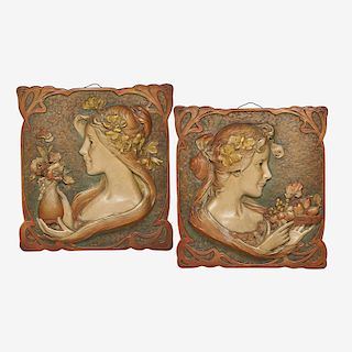 STYLE OF ERNST WAHLISS Two Amphora plaques