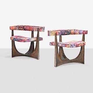 PAUL EVANS Rare pair of armchairs